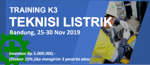 pelatihan k3 teknisi listrik november 2019 bandung